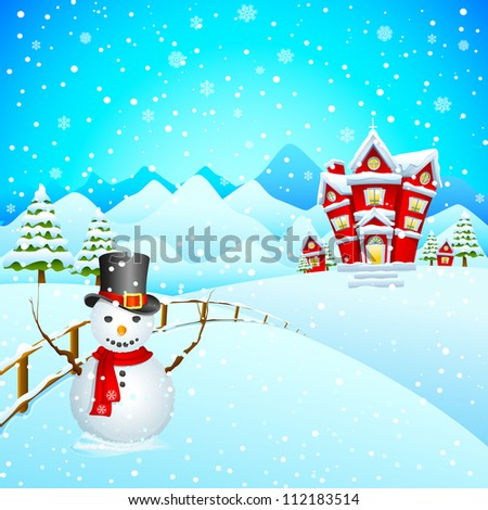 vector illustration of snowman wishing Merry Christmas