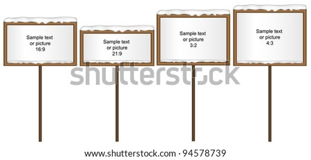 Vector illustration of snowy winter boards. Four most use aspect ratios.