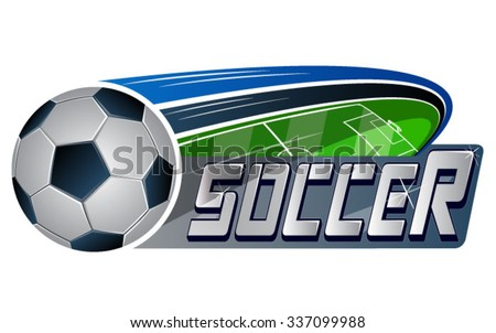 Vector illustration of soccer ball & soccer field