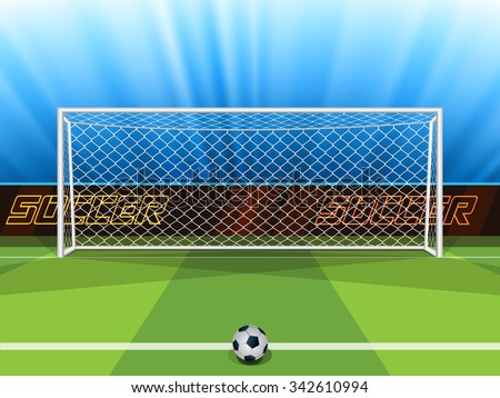 Vector illustration of soccer ball with field & goal posts in the abstract bacground