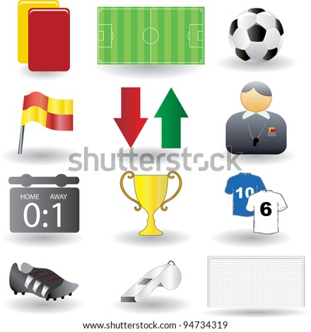 Vector illustration of soccer icons.
