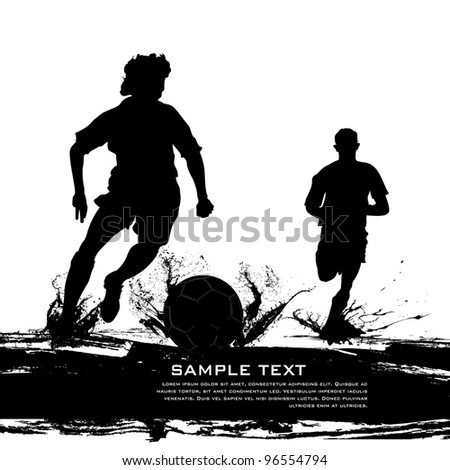 vector illustration of soccer player on grungy abstract background
