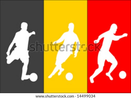 Vector illustration of soccer players and flag of Belgium