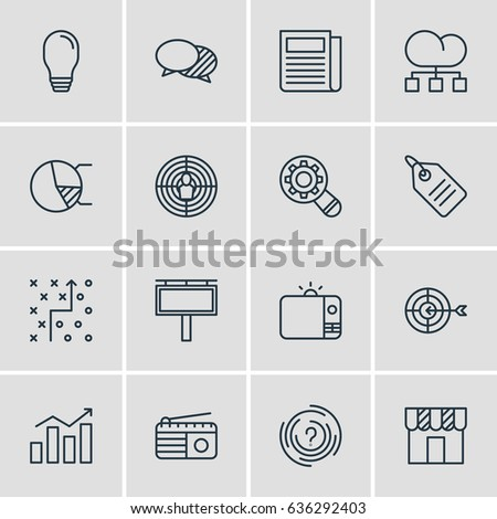 Vector Illustration Of 16 Social Icons. Editable Pack Of Shop, Advertising Billboard, Circle Diagram And Other Elements.