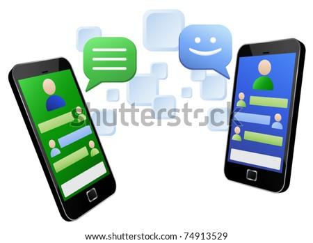 Vector illustration of social media messaging between two touch screen mobile phones. EPS8 file layered and grouped for easy editing