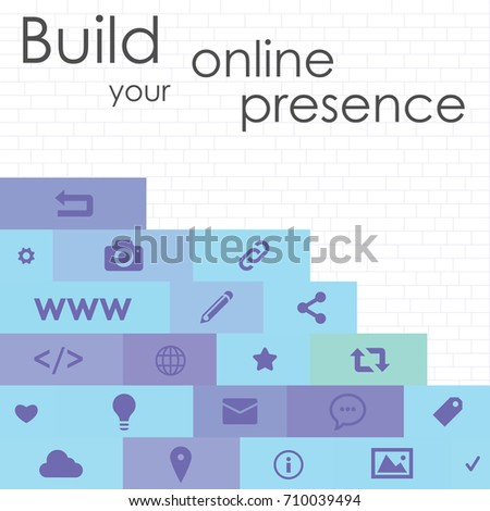 vector illustration of social media symbols on brick wall background for internet technologies startups and building online presence concept