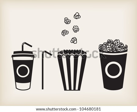 Vector illustration of soda cup, straw and popcorn