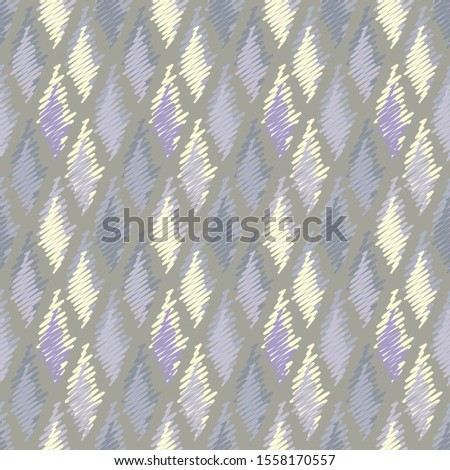 Vector illustration of soft yellow, grey, lilac and purple scribbled warped rhombuses. Scribble texture, textile rapport. Seamless repeat pattern for gift wrap, textile, fabric, scrapbooking, fashion.
