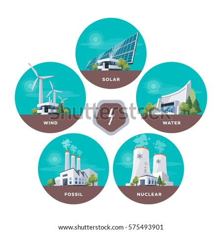 Vector illustration of solar, water, fossil, wind, nuclear power plants. Different types of factories. Renewable electricity. Energy power station types with natural, thermal, hydro, chemical energy.