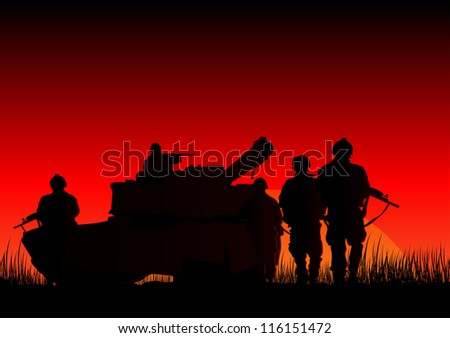 vector illustration of soldiers