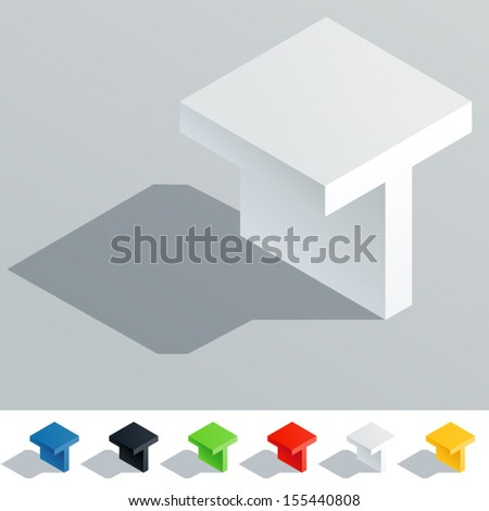Vector illustration of solid colored letter in isometric view. Cube styled monospace characters. Symbol T Stock fotó ©