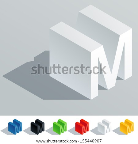Vector illustration of solid colored letter in isometric view. Cube styled monospace characters. Symbol M