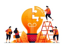 Vector illustration of solve problems and find solutions with teamwork. Share ideas with brainstorming. Graphic design for landing page, web, website, mobile apps, banner, template, poster, flyer