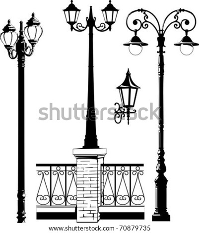 Vector illustration of some street lantern