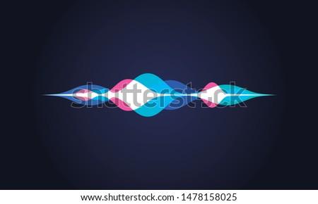 Vector illustration of soundwave intelligent technologies. Personal assistant or voice recognition gradient logo.