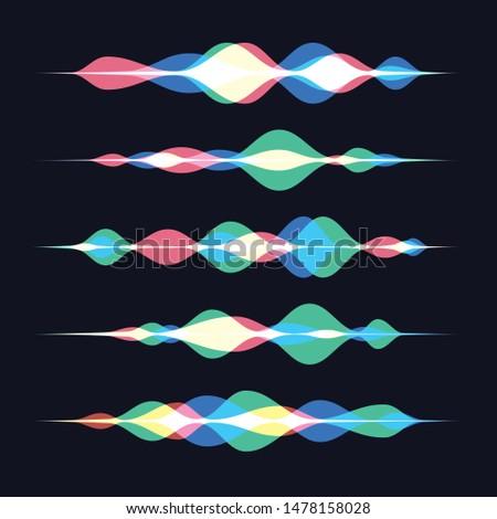 Vector illustration of soundwave intelligent technologies. Voice recognition gradient logos set.