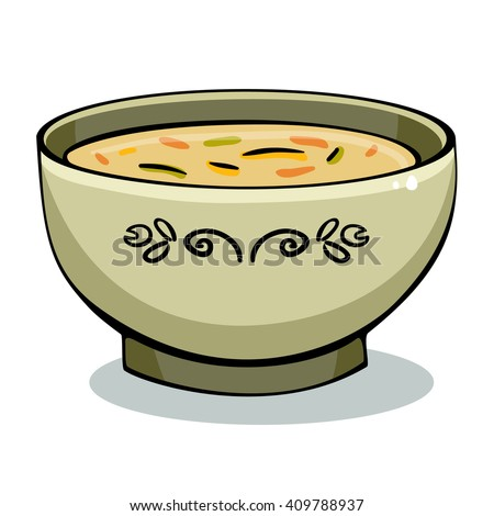 Vector illustration of soup in a white bowl. Soup illustration.