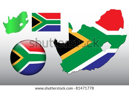 Vector illustration of South Africa map and glossy ball with flag pattern