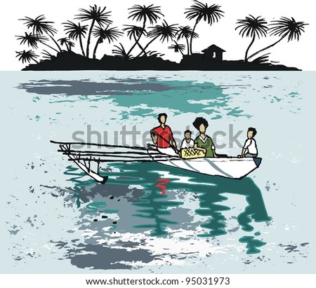 Vector illustration of South Pacific natives in outrigger canoe