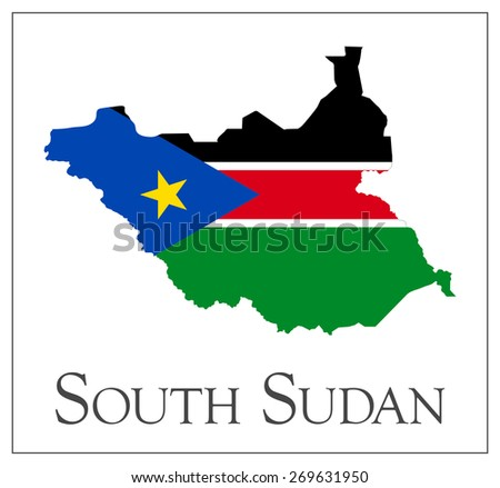 Vector illustration of South Sudan flag map. Used transparency.