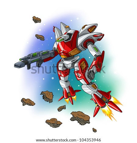 Vector illustration of space flying robot.