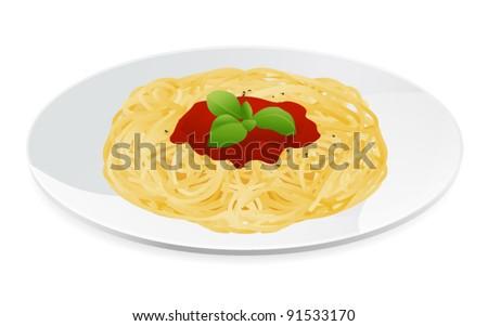 Vector illustration of spaghetti bolognese with tomato sauce. Italian pasta
