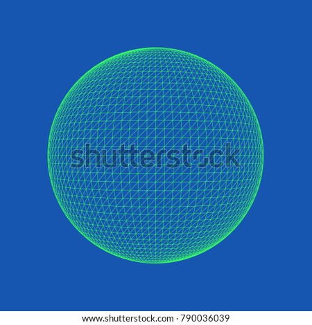 Vector illustration of Sphere, perfectly round geometrical solid figure. Three-dimensional transparent object. Abstract polygonal shape and simple geometric form. Isolated on colored background.