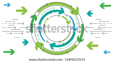 vector illustration of spinning arrows for dynamical concept or reciprocal connection Foto stock ©