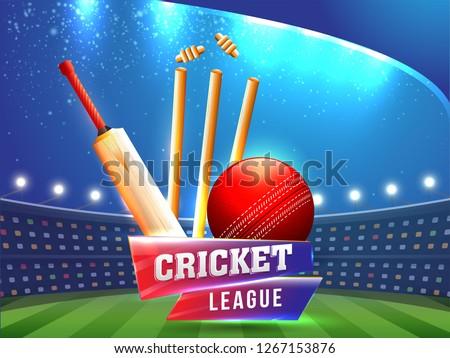 Vector illustration of sport background for cricket championship poster or banner design.