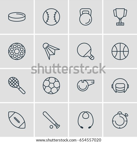 Vector Illustration Of 16 Sport Icons. Editable Pack Of Second, Rocket, Touchdown And Other Elements.