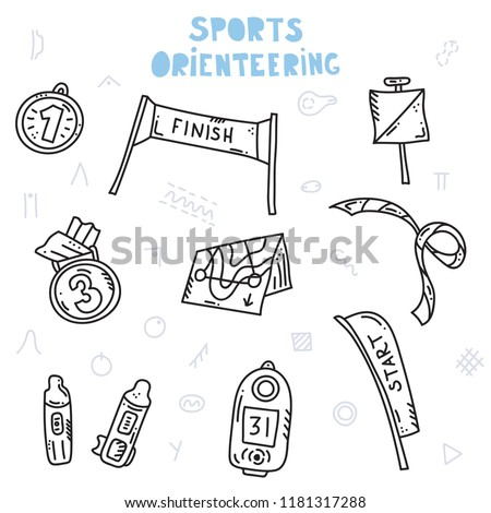 Vector illustration of sport orienteering isolated elements:  compass, card, control point, medal, start, finish, map. Orientation, navigation equipment.