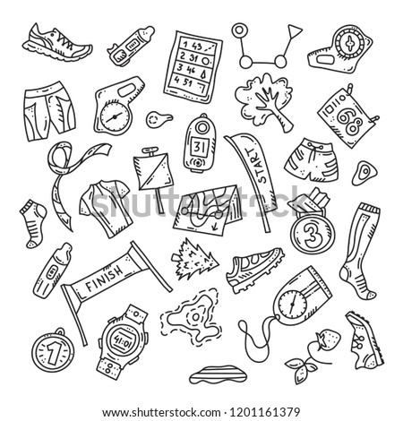 Vector illustration of sport orienteering isolated elements: control point, compass, card, map, clothes, shoe, finish, plant, watch, shirt, medal, gaiter, distance. Orientation, navigation equipment.