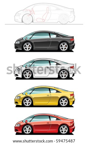 vector illustration of  sports car. (Simple gradients only - no gradient mesh.)