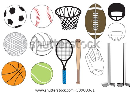 Vector Illustration of 15 sports icons isolated. No gradients were used. Available in other versions.