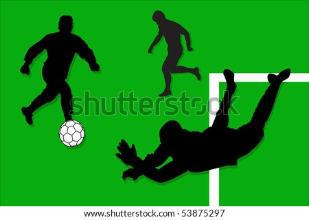 Vector illustration of sportsmen at the football match