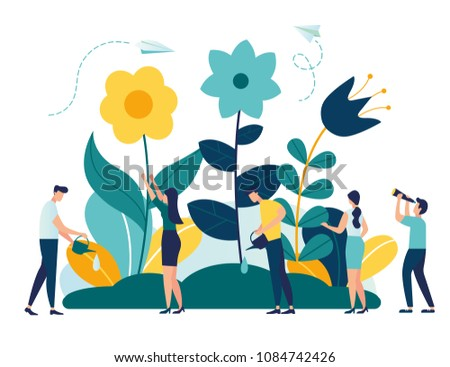 Vector illustration of spring flowers on white background, gardeners look after the garden, growing plants in nature, clean ecology