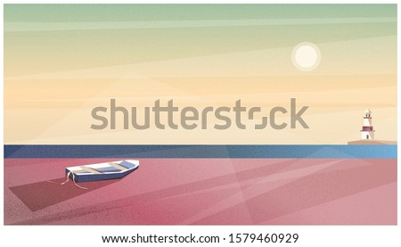 Vector illustration of spring or summer beach background.Minimalist image of Scandinavian or Nordic seaside landscape.Lighthouse,wooden boat on the beach,sun shining. Dusty rose combination color tone