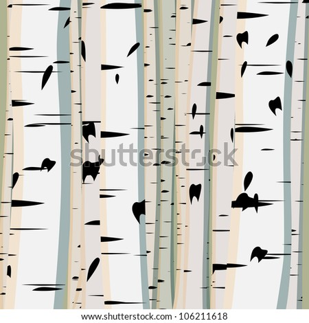 Vector illustration of square background with a lot of trunks of birches.