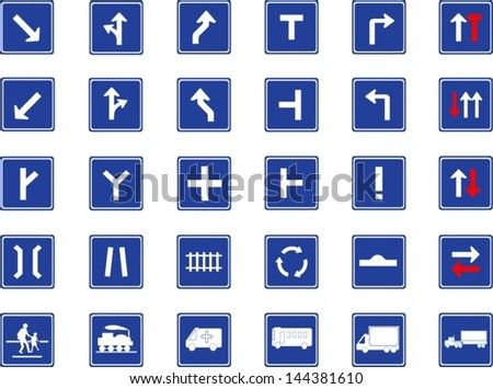 Vector illustration of square blue road signs collection