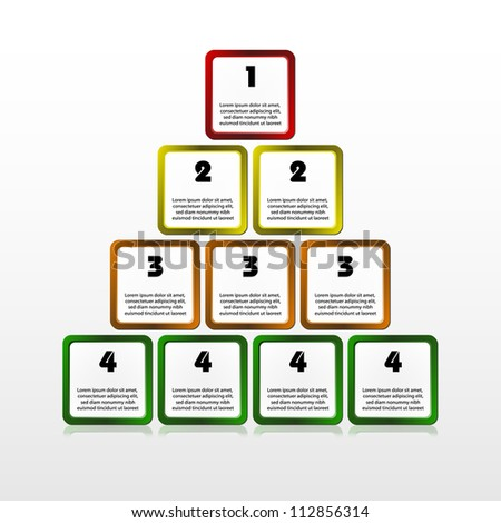 Vector illustration of square progress pyramid. Timeline template. Color infographic. Layered document.