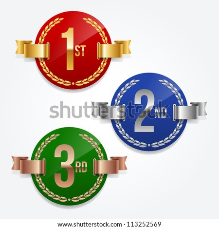 Vector illustration of 1st; 2nd; 3rd awards emblems