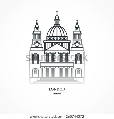 Vector Illustration of St Paul's Cathedral Icon Outline for Design, Website, Background, Banner. Travel Britain Landmark Element Silhouette Template for Tourism Flayer