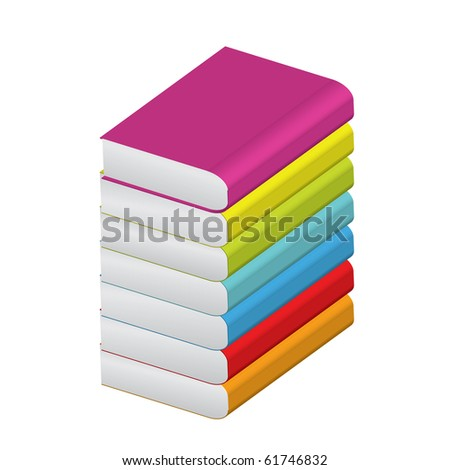 Vector illustration of stack of colorful books