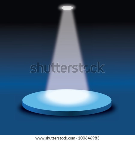 vector illustration of stage with light