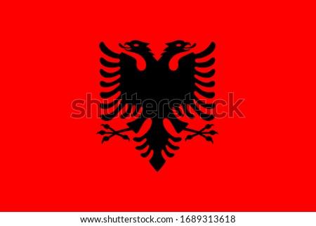 Vector illustration of Standart size Albania national flag. Stock photo ©
