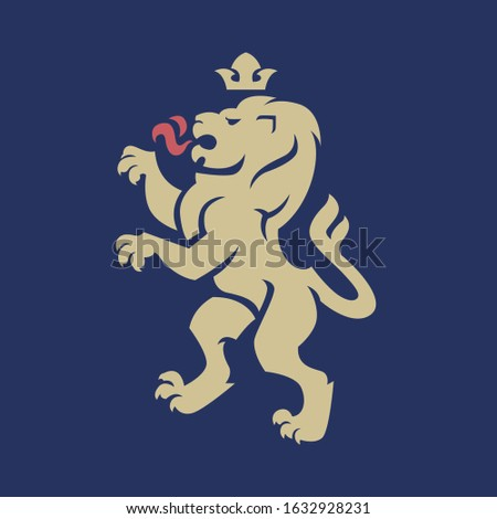 Vector illustration of standing lion with a crown for heraldry or tattoo. Vintage design heraldic symbols and elements Stockfoto ©