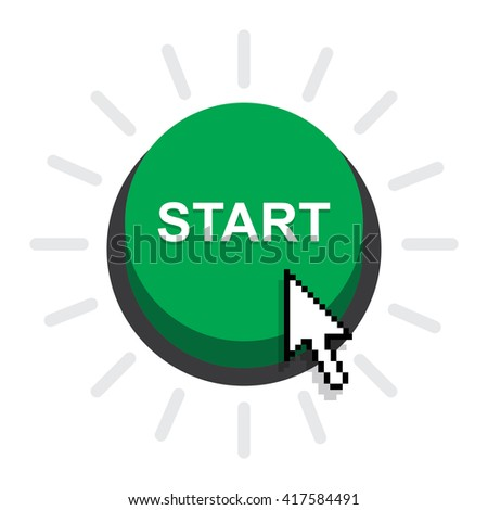 vector illustration of start button on white background