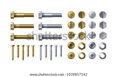Vector illustration of steel and brass bolts, nails and screws on white background. Heads types with nuts and washers, top view