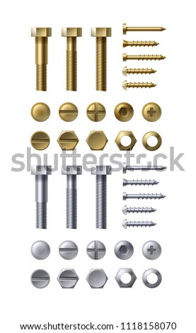 Vector illustration of steel and brass bolts, nails and screws on white background. Heads types with nuts and washers, top view.