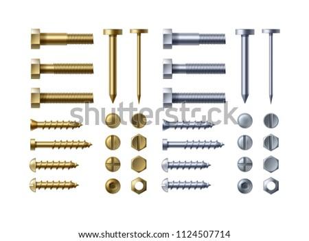 A set of metal nail head - Download Free Vectors, Clipart